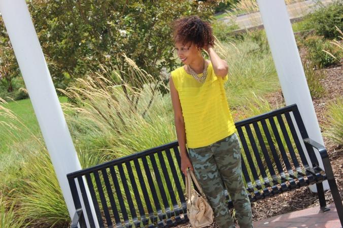 camo pants, canary yellow shirt