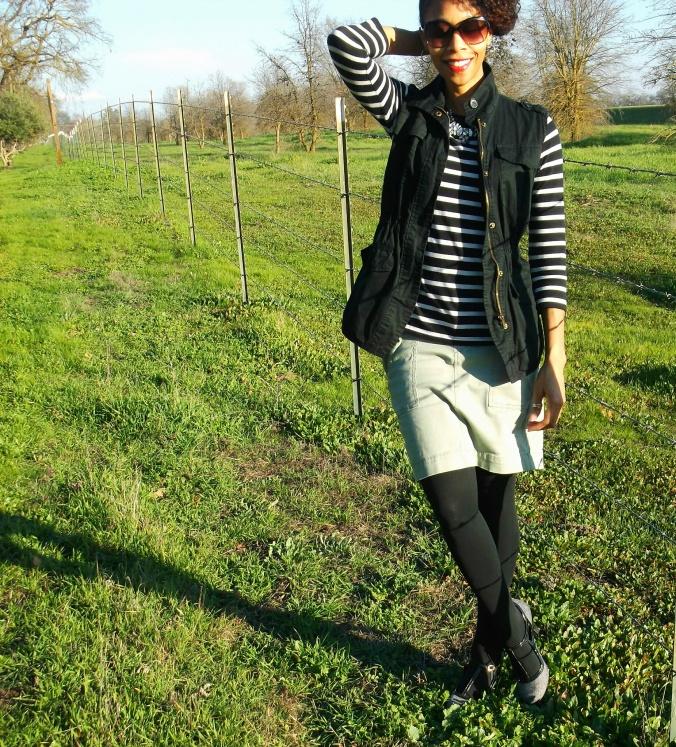 Olive skirt, striped shirt